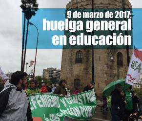 USTEA convocó huelga para exigir la derogación de la ley educativa, fijar el presupuesto en educación en un 7% PIB, reducir ratios, aumentar becas y garantizar la estabilidad del profesorado interino.