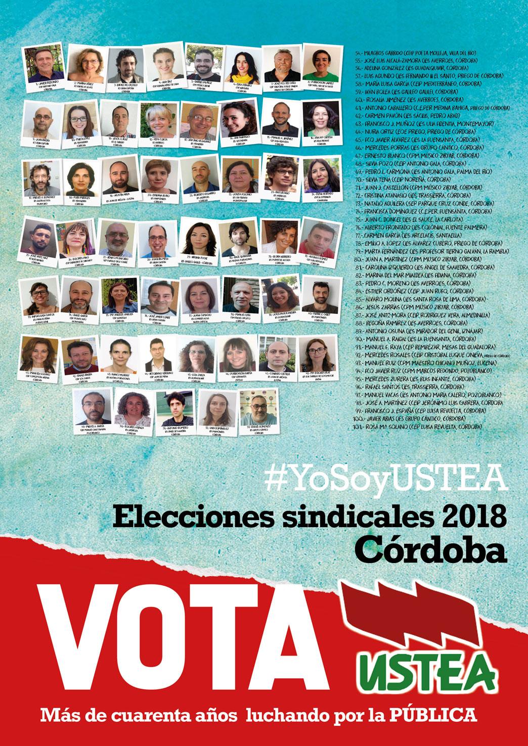 Elecciones sindicales 2018 a quién votar Ustea Córdoba