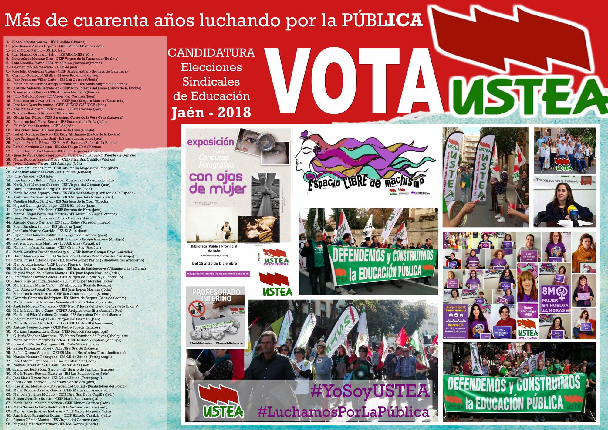 Elecciones sindicales2018 a quién votar Ustea jaén