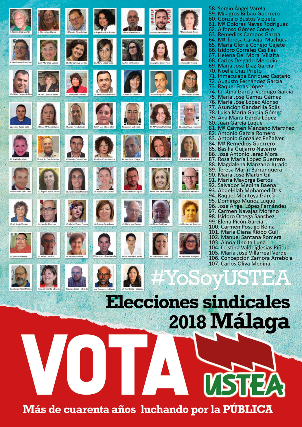 Elecciones sindicales2018 a quién votar Ustea Málaga